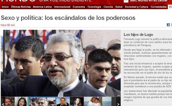 BBC.El presidente de la República Fernando Lugo aparece entre presidentes envueltos en escándalos sexuales.